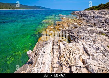 Idyllic rocky beach Sakarun on Dugi Otok island, archipelago of Dalmatia, Croatia - Stock Photo