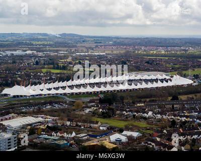 Aerial view of Mc Arthur Glen designer outler- Ashford, Kent, UK - Stock Photo