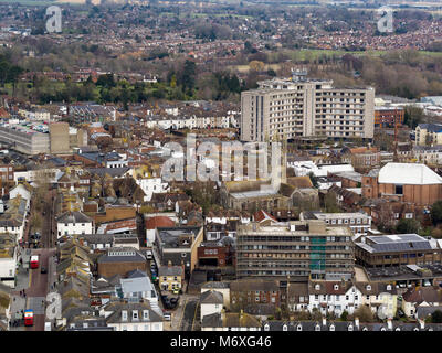 Aerial view of Ashford, Kent, UK - Stock Photo