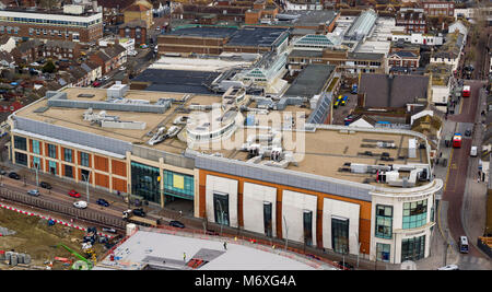 Aerial view of County Square shopping centre, Ashford, Kent, UK - Stock Photo