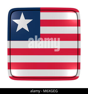 3d rendering of a Liberia flag icon. Isolated on white background. - Stock Photo