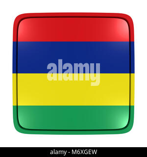 3d rendering of a Republic of Mauritius flag icon. Isolated on white background. - Stock Photo