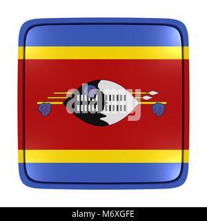 3d rendering of a Kingdom of Swaziland flag icon. Isolated on white background. - Stock Photo