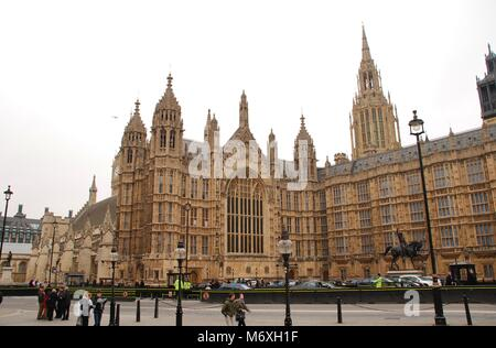 Exterior of the Houses of Parliament in Westminster, London on March 17, 2011. - Stock Photo