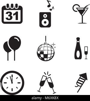 New Years Eve Icons - Stock Photo