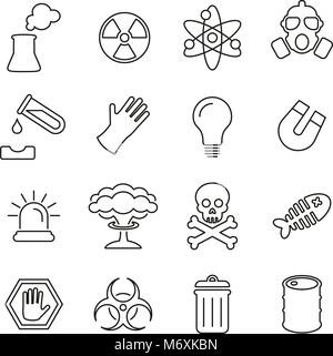 Nuclear Power Plant Icons Thin Line Vector Illustration Set - Stock Photo