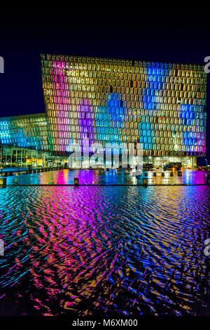 Colorful lights- Winter Lights Festival, Harpa Music Hall and Conference Centre, Reykjavik, Iceland - Stock Photo