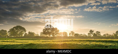 Sunrise shines through the hedges and trees in South Lincolnshire, near the ancient town of Stamford.Electricity - Stock Photo