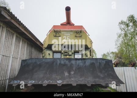 Ukraine, Chernobyl: Abandoned vehicles user for the decontamination of the Chernobyl nuclear power plant. Photo: - Stock Photo