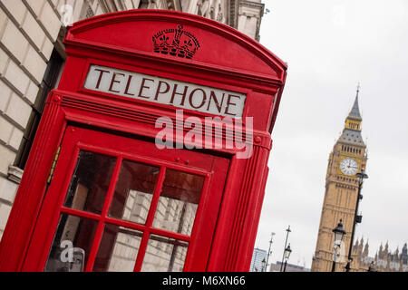 Vintage phone booth in London GB - Stock Photo