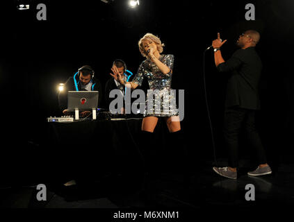 Kimberly Wyatt and Spencer Nezey of Her Majesty & the Wolves performing - Stock Photo