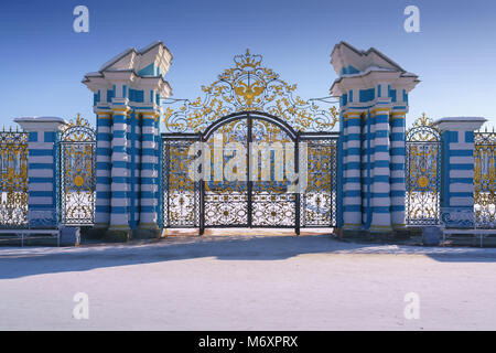 Golden gate in The Catherine Palace, Tsarskoye Selo, Pushkin, Saint-Petersburg, Russia - Stock Photo