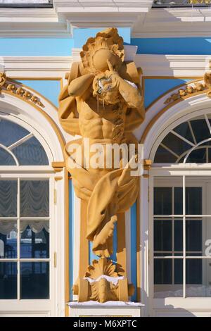 The Catherine Palace, Tsarskoye Selo, Pushkin, Saint-Petersburg, Russia - Stock Photo