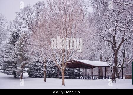 Snow Covered Picnic Shelter in Illinois - Stock Photo