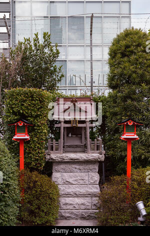 A small rooftop shrine on top of Takashimaya Times Square shopping mall, Shinjuku, Tokyo, Japan. Friday January - Stock Photo