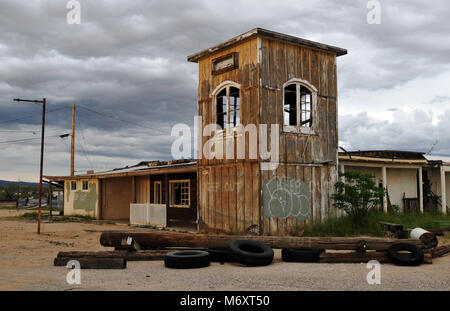 The former general store in the Route 66 ghost town of Goffs, California stands abandoned. - Stock Photo