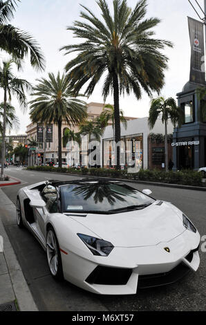 Lamborghini parked on famed Rodeo Drive in the heart of Beverly Hills, California. The street is known for its high - Stock Photo