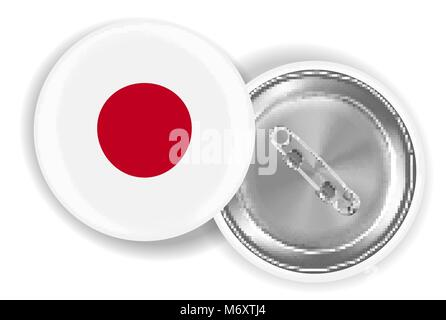 japan flag round brooch pin front and back - Stock Photo