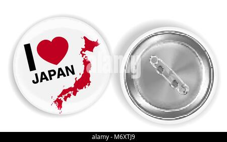 i love japan round brooch pin front and back - Stock Photo