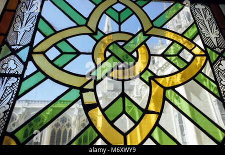 Detail of stained glass windows in Burgos Cathedral in Castilla y Leon in Spain  June 2007 - Stock Photo