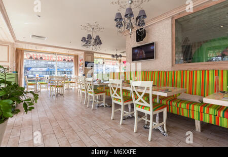 MOSCOW - JULY 2014: Interior is a stylish chain restaurant of Japanese and Italian cuisine 'NIOKKI'. Italian room - Stock Photo