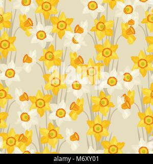 Spring flowers narcissus natural seamless pattern - Stock Photo