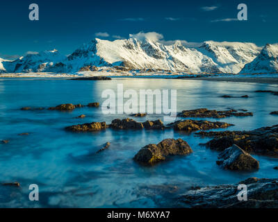 Fredvang in Lofoten during a cold winter day. - Stock Photo