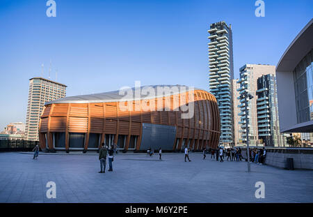 MILAN, ITALY MARCH 28, 2017 - View of the Unicredit Pavillion and Solaria Tower in Gae Aulentis Square, the buisness - Stock Photo