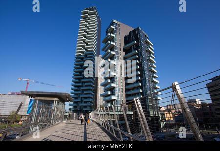 MILAN, ITALY MARCH 28, 2017 - View of Solaria, Solea and Aria Towers, inside 'Porta Nuova' Area in Milan, near Garibaldi - Stock Photo
