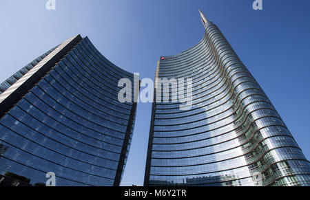 Milan, August 8 2016 Iconic skyscraper 'Unicredit Tower'in the modern area of Milan near Garibaldi railway station - Stock Photo