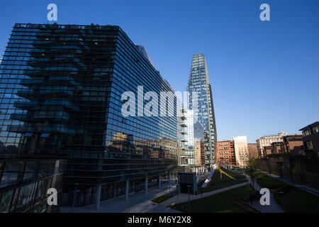 MILAN, ITALY MARCH 28, 2017 - View of Diamante (Diamond) Tower, inside 'Porta Nuova' Area in Milan, near Garibaldi - Stock Photo