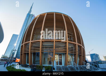 MILAN, ITALY MARCH 28, 2017 - View of the Unicredit Pavillion, in Gae Aulentis Square the buisness area, near Garibaldi - Stock Photo