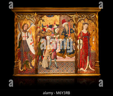 Gothic altarpiece depicting left to right - the Archangel Gabriel, the martyrdom of Santa Eulalia and St Caterina, - Stock Photo