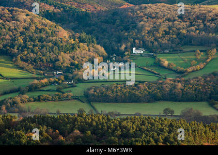 First light on Selworthy in autumn from Dunkery Beacon, Exmoor, Somerset, England, UK - Stock Photo