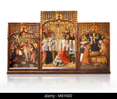 Gothic Catalan altarpiece of, left to right, the martydom of St Bartholomew, Calvaty and the deat of St Mary Magdelene, - Stock Photo