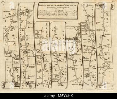Oxford Bicester Buckingham Bedford Cambridge. KITCHIN road map 1767 old - Stock Photo