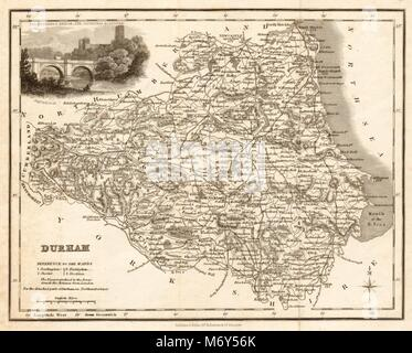 Antique county map of Durham by Archibald Fullarton c1833 old - Stock Photo