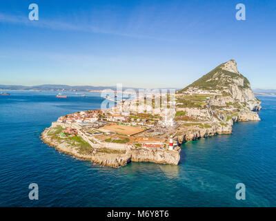 Famous Gibraltar rock on overseas british territory, Gibraltar, Iberian Peninsula, Europe - Stock Photo