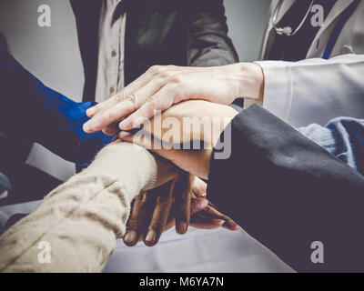 Business group with hands together.Teamwork concept and Business concept. - Stock Photo