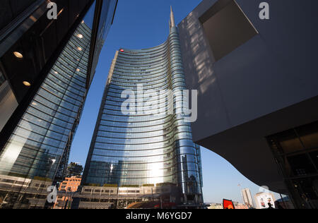 MILAN, ITALY MARCH 28, 2017 - View of the Unicredit Tower, in Gae Aulentis Square, the buisness area near Garibaldi - Stock Photo