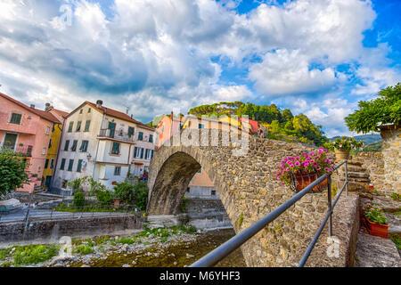 Picturesque Italian town of Varese Ligure, La Spezia with the Roman bridge, Italy - Stock Photo