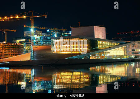 Night view of architectural award-winning National Oslo Opera House, Norway - Stock Photo