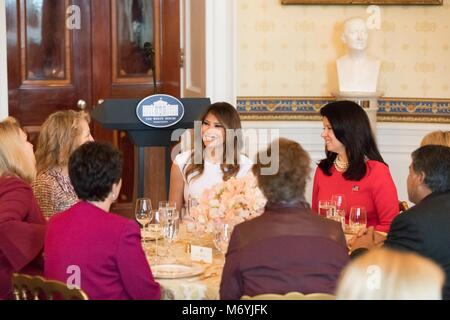 U.S First Lady Melania Trump, center, hosts a luncheon for spouses of Governors at the White House February 26, - Stock Photo