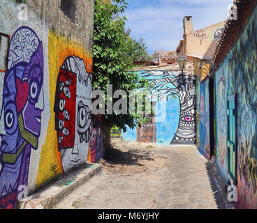 Europe, Greece, Attica Athens,Anafiotika Plaka  ,Graffiti On Wall At Street The part of old town of Athens called - Stock Photo