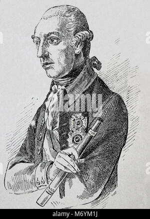 Joseph II (1741-1790). Holy Roman Emperor from 1764-1790. Portrait. Engraving. - Stock Photo