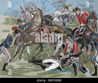 Death of French general Louis Desaix (1768-1800). Battle of Marengo,14 June 1800. French Revolutionary Wars. Italy. - Stock Photo