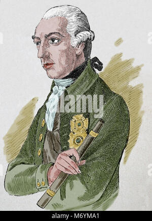 Joseph II (1741-1790). Holy Roman Emperor from 1764-1790. Portrait. Engraving. Color. - Stock Photo