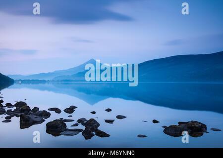 Schiehallion reflected in Loch Rannoch at dawn, Perthshire, Scotland, UK Stock Photo