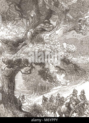 Prince Charles, son of Charles I, and Future King Charles II, hiding in the oak Tree, 1651, following defeat at - Stock Photo