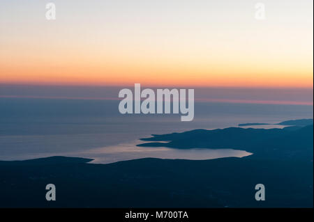Amazing aerial view on Zaliv Trašte and the entrance of the Bay of Kotor at the Adreatic sea after sunset, taken - Stock Photo